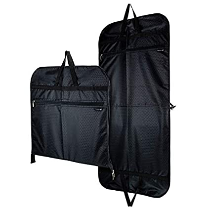 Hangerworld Funda 110cm Porta Trajes de Viaje Negro con Asas y Cremallera