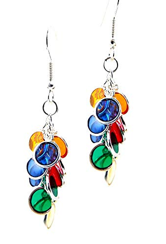 Multi Colored Cluster Discs Dangle Pierced Earrings with Silver Toned Ear Wires