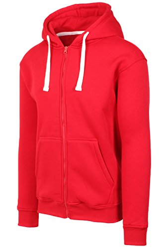 Mens Hipster Hip Hop Basic Heavy Weight Zip-Up Red Hoodie Jacket Large - Cotton Exchange Lightweight T-shirt