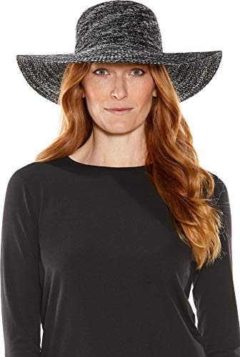 - Coolibar UPF 50+ Women's Packable Wide Brim Hat - Sun Protective (One Size- Black Space Dye)