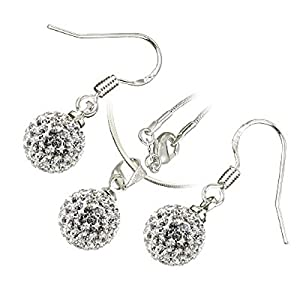 Sterling Silver Plated, 10MM White AB Clay Crystal Shamballa Balls, Pendant Necklace Earrings Set