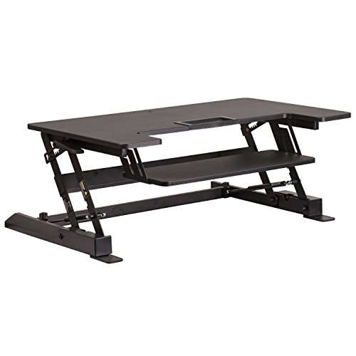 (Flash Furniture HERCULES Series 36.25''W Black Sit / Stand Height Adjustable Desk with Height Lock Feature and Keyboard Tray)