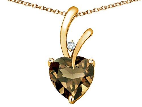 Star K Heart Shape 8mm Genuine Smoky Quartz Endless Love Pendant Necklace 10 kt Yellow Gold