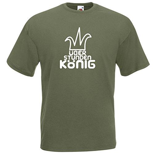 Überstundenkönig Fun T-Shirt Olive / Druck Weiß