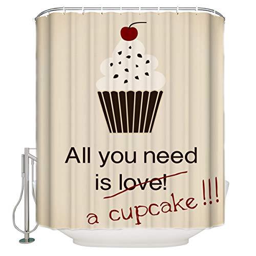 (Bathroom Shower Curtain Cupcake Funny Poster Cherry Cream Kraft Card Durable Waterproof Fabric Home Bath Curtain Sets with 12 Hooks, 72
