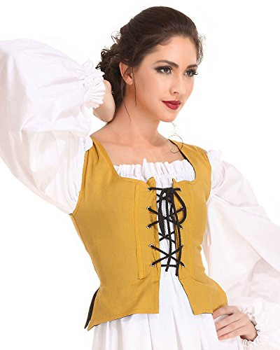 Pirate Wench Peasant Renaissance Medieval Costume Corset Bodice C1051 [Gold] (Large)]()