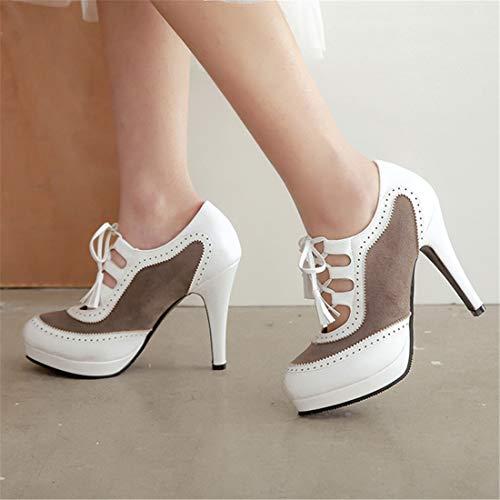 Decollate à talon bout avec à fermées Élégantes aiguille Vitalo ouvert lacets Donna Chaussures blanc chaussures 5qw51p