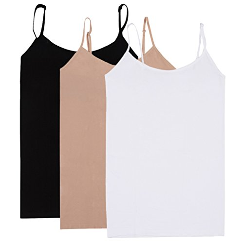BollyQueena Camisole for Women, Women's Camisole Tops for Women White Camisole 3 Packs Black&Complexiom&White