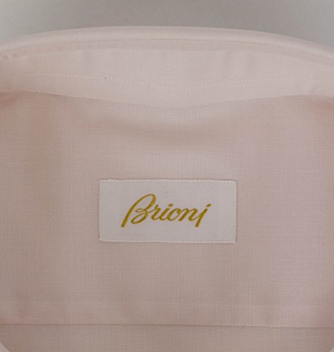 brioni Pink Cotton Slim Fit Dress Shirt Size 44 EU 17.5 US