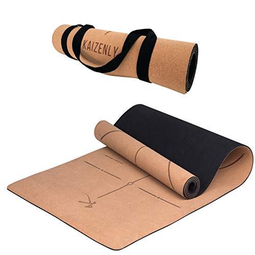 KAIZENLY Pro Milieuvriendelijke Yogamatte – Natuurlijke Kurk, Uitstekende Grip – Yoga Mat met Draagband – Voor Yoga…
