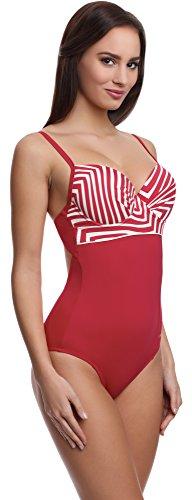 Feba Push Up Bañador estilizador de la figura para mujeres Scarlet Rojo/Crema