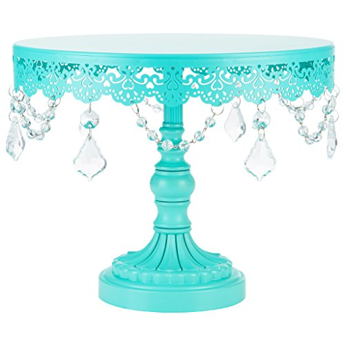 Sophia Collection Teal 10 Inch Cake Stand with Crystals, Round Metal Wedding Birthday Dessert Cupcake Pedestal Display