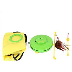 Pawaboo Pet Teasing Toy, Undercover Mouse Electronic Interactive Cat Toy - GREEN & YELLOW