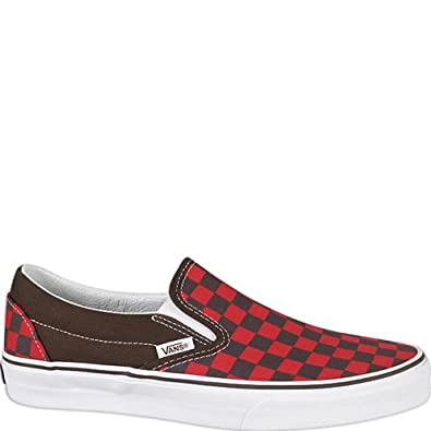 vans | classic slip on checkerboard | espresso/rot | 9: Amazon.de ...