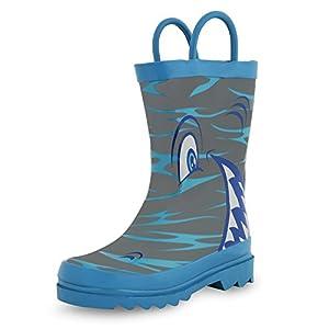 Shark in the Sea - Boy's Rain Boots (Toddler/Little Kid) (12 M US Little Kid)
