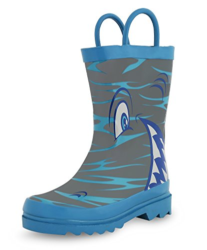 Shark in the Sea - Boy's Rain Boots (Toddler/Little Kid) (9 M US - Kids Boots Designer