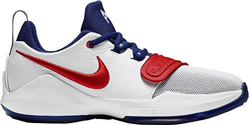 - Nike Kids' Grade School PG 1 Basketball Shoes (White/Red, 5 D (M) US)