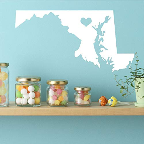 Wall Art Stickers Quotes and Sayings Maryland State Vinyl Wall Decal - Map Silhouette Decoration with Heart for Living Room Bedroom Nursery Kids Room]()
