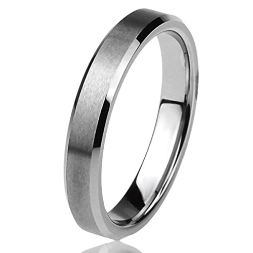 (Free Engraving Personalized Titanium Comfort Fit Wedding Band Ring 4mm Beveled Edges Brushed Classy Ring)