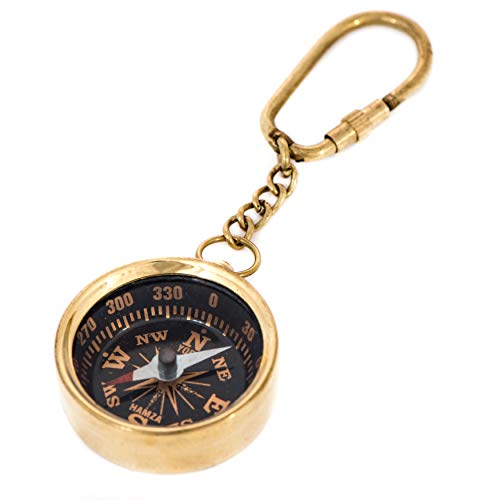 CANTON IMPORTS Brass Compass Key Ring ()