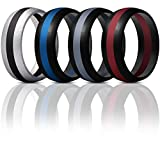 ThunderFit Mens Silicone Rings Wedding Bands - 4 Pack Classic & Middle Line (Black Middle Red, Black Middle Dark Grey, Silver Middle Black, Black Middle Blue, 9.5-10 (19.8mm))