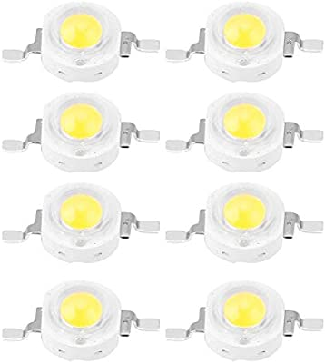 5 x Bianco 1W HIGH POWER LED Chip 110LM