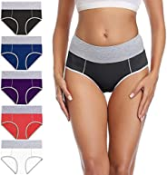 wirarpa Women's Cotton Spandex Underwear High Waist Briefs Ladies Soft Comfortable Panties 5 Pack (Regular
