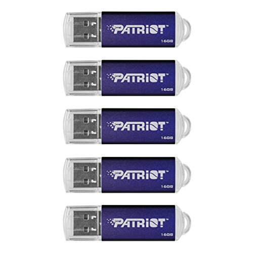 Patriot Memory 16GB Pulse Series USB 2.0 Flash Drive, 5 Pack, Blue (PSF16GXPPN5PK) (Usb 16gb Drive Series Flash)