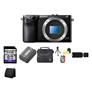 Sony NEX-7 24.3 MP Compact Interchangeable Lens Camera - Body + 8GB SDHC Class 10 Memory Card + Lithium Ion Rechargeable NP-FW50 Battery + Padded Deluxe Carrying Case w/Strap, Carrying Case + Table Top Tripod, Lens Cleaning Kit, LCD Protector + USB SDHC Memory Card Reader + Memory Card Wallet