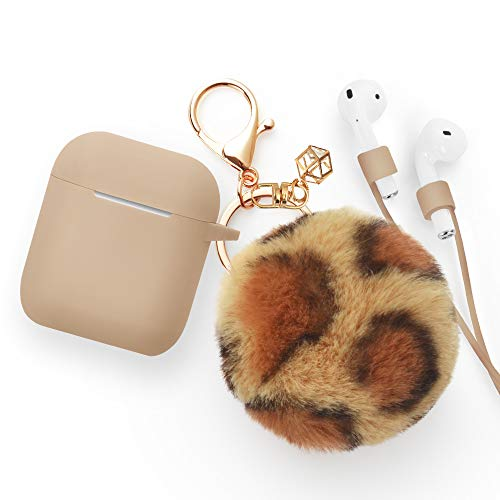Airpods Case - BlUEWIND Drop Proof Air Pods Protective Pom Pom Keychain Case Cover Silicone Skin for Apple Airpods 2 & 1 Charging Case, Cute Fur Ball Airpods Key (Khaki case with leopard print pompom
