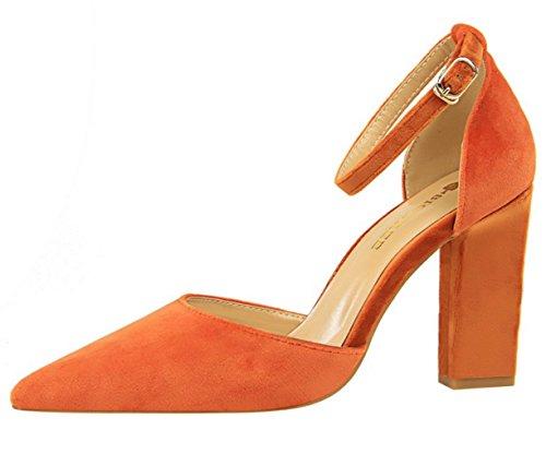 DADAWEN Women's Pointed Toe Block Heel Ankle Strap Dress Pumps Wedding Bridal Court Shoes Orange sNViPtPt