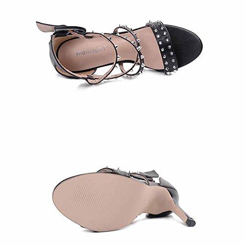 GLTER Apra la punta della punta 2017 Nuovo stile europeo rivetto ha incrociato le scarpe fredde delle donne fredde high-heel del cavallo