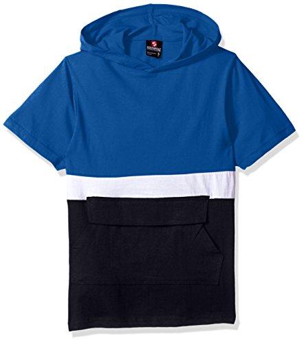 Southpole Big Boys' Anorak Colorblock Short Sleeve Hoodie Single Jersey, Royal, Medium by Southpole