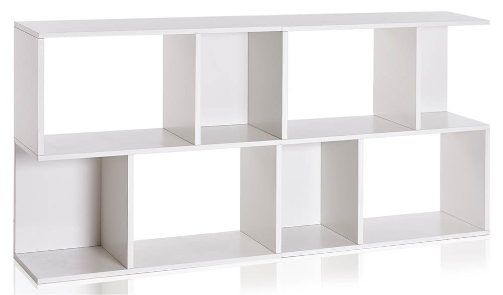Way Basics Double Soho Bookcase & Eco Friendly Low Bookshelf - White