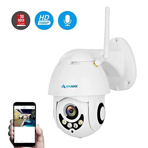 Anakk Outdoor Wireless WiFi Security Camera Pan Tilt HD 1080P IP Camera with Night Vision Motion Detection 3.6mm Lens IP66 Weatherproof for Home Surveillance Baby & Pet ()