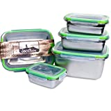 JaceBox Food Storage Containers - Stainless Steel 304 BPA FREE, Airtight, Leak Proof Set of 5 sizes Light and Easy BEnto Box Ready KEto Lifestyle Great for Meal Prep Lunch Box by JaceBox