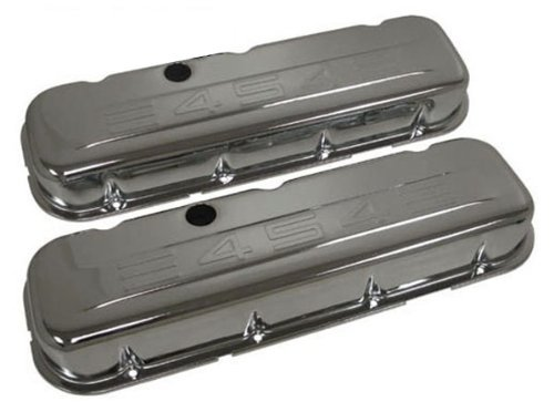 (1965-95 Chevy Big Block 396-427-454-502 Short Steel Valve Covers w/ 454 Logo -)