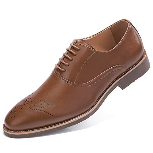 Men's Derby Dress Shoes Classic Lace Up Plain Toe Oxford Shoes Brown 10.5