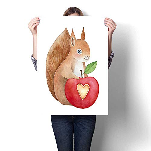 Anshesix Canvas Painting Sticker Funny Smiling Squirrel Character with Furry Tail Keeping red Stylized Apple with Heart Shaped Cut Out and Small Green Leaf Print On Canvas for Wall Decor 16