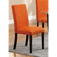 Poundex Finished Dining Chair, Bright Orange