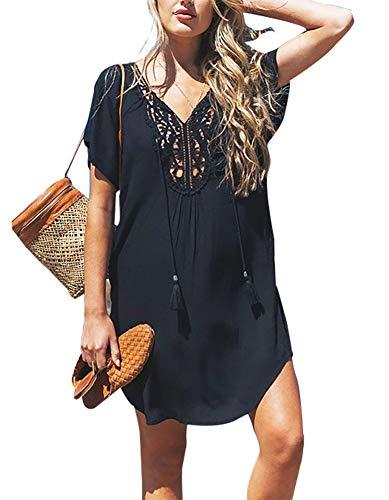BomDeals Women's Cover up T-Shirt Baggy Swimsuit Beach Dress (Black-P)