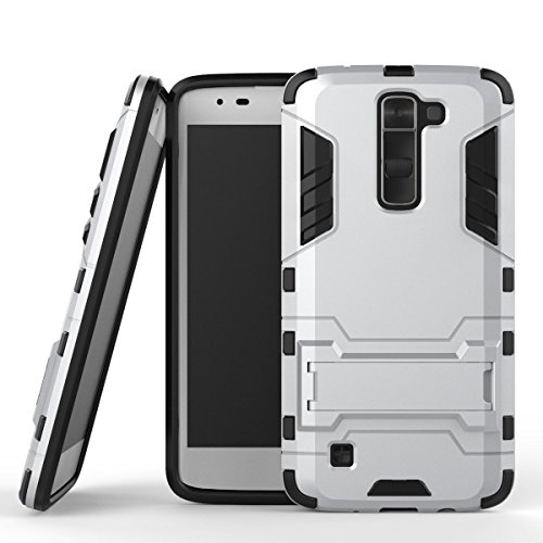 LG Tribute 5 Case, LG K7 Case, Speedup Exact Fit Ultra Slim Stand Hybrid Dual Layer PC Hard Shell with Shock-Absorption Soft Rubber Inner Bumper Protective Case for LG K7 / LG Tribute 5 (Silver)