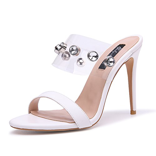 Onlymaker Women's Clear Open Toe Mules Slingback Stiletto Rhinestone Embellished High Heels Slip on Slide Sandals White 8 M US
