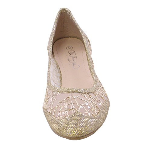 SQ-32 Womens Ballet Flats Pointed Toe GOLD US10 WOMEN by Blancho