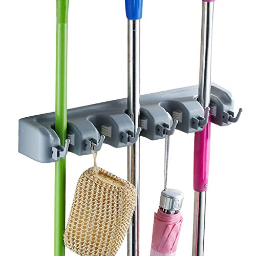 DIY SHELVES Mop Broom Holder Garden Tools Wall Mounted Organizer Storage Rack for Garage, Commercial Laundry Room and Garden(5 Position with 6 Hooks)
