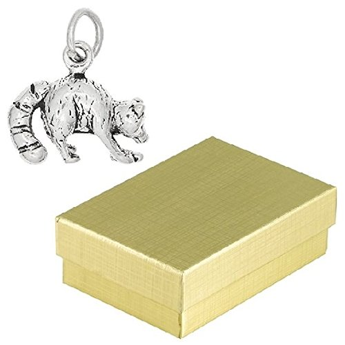 Sterling Silver Raccoon Charm Animal Jewelry in Gift Box (Racoon Tail)