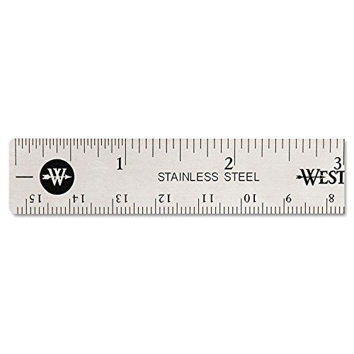 Westcott 10414 Stainless Steel Office Ruler With Non Slip Cork Base, 6