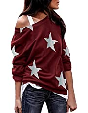 007XIXI Womans Blouses on Sale Women Long Sleeve Star Print Off Shoulder Plus Size Shirts Loose Casual Blouses
