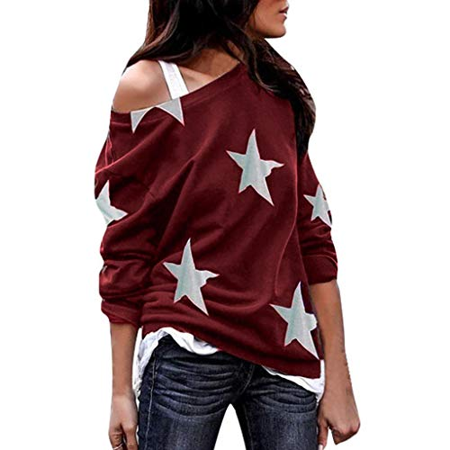 Dainzuy Women's Sexy Tops Off The Shoulder Boatneck Pullover Sweatshirt - Star Print Comfy Baggy Sweater Wine