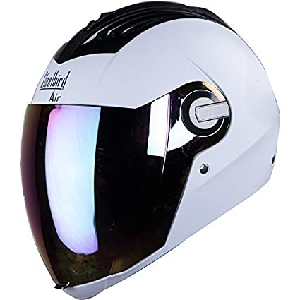 2ba1a1b0 Steelbird SBA-2 Full Face Helmet with Visor (White and Gold, Large):  Amazon.in: Car & Motorbike